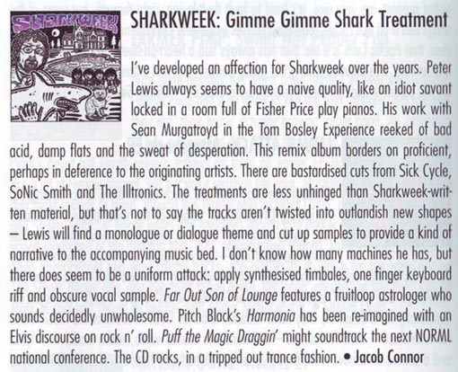 Review of Sharkweek album Gimme Gimme Shark Treatment in New Zealand Musician magazine June 2010