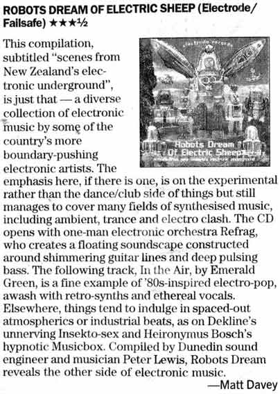 Review of Various Artists album Robots Dream Of Electric Sheep in Christchurch Press July 2005