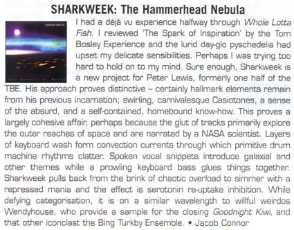 Review of Sharkweek album The Hammerhead Nebula in New Zealand Musician magazine 2004