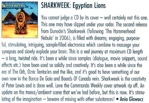 Review of Sharkweek album Egyptian Lions in New Zealand Musician magazine December 2008