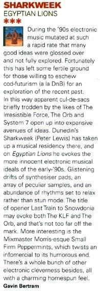 Review of Sharkweek album Egyptian Lions in Real Groove magazine April 2009