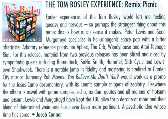 Review of Tom Bosley Experience album Remix Picnic in New Zealand Musician magazine September 2008